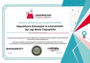 Certyfikat ZADOWOLONY KONSUMENT GIMNAZJUM
